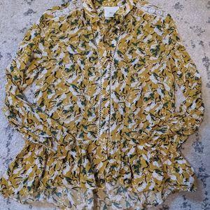 Maeve rabbit folk print peplum tie neck blouse